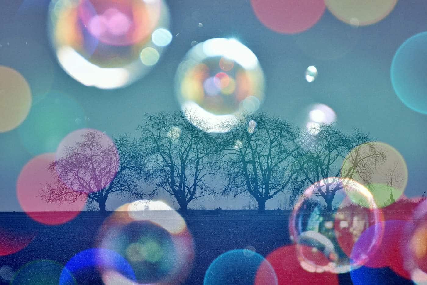 Seifenblasen vor Baumgruppe – Unterschiedsbildung