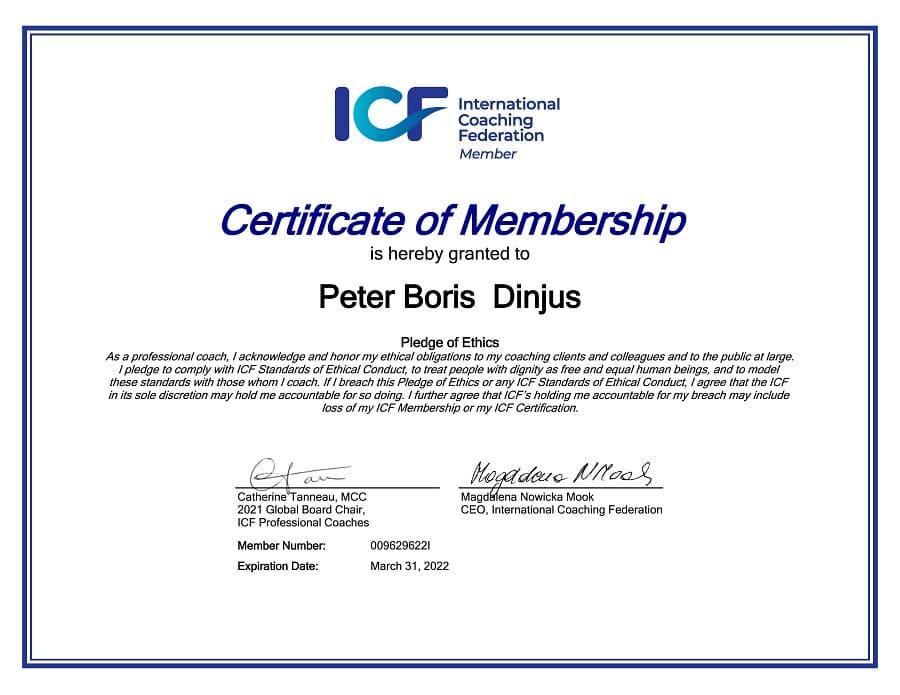 ICF Membership Certificate Peter Boris Dinjus